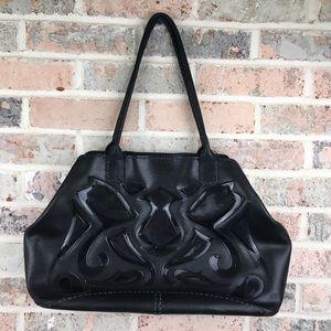 Antonio Melani Black Cowhide Leather Tote Bag